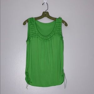 Tops - Fiesta Lime Green Ruffle Tank with side Rouching